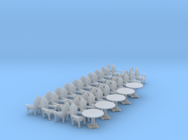 Parlor Chair x40 and Tables x5 HO scale 3d printed
