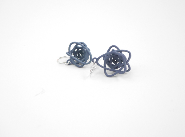 Sprouted Spiral Earrings 3d printed Azurite Nylon (Custom Dyed Color)