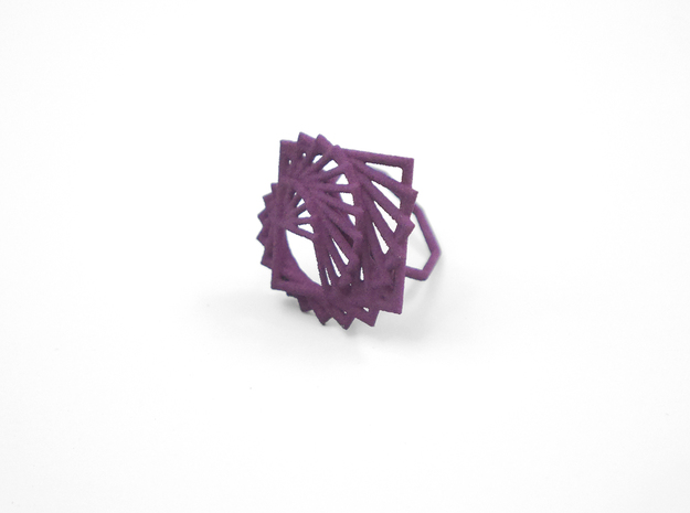 Arithmetic Ring (Size 7) 3d printed Eggplant (Custom Dyed Color)