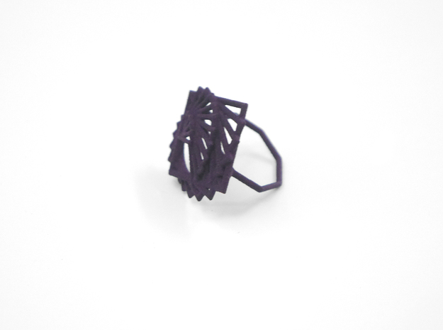 Arithmetic Ring (Size 6) 3d printed Midnight Nylon (Custom Dyed Color)