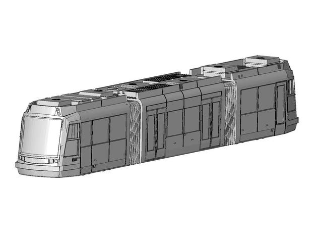 HO Portland Streetcar block model in White Strong & Flexible