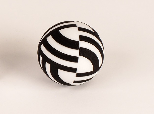 Sphere Version Of Simple Cube Negative 4 Pieces in Black Strong & Flexible