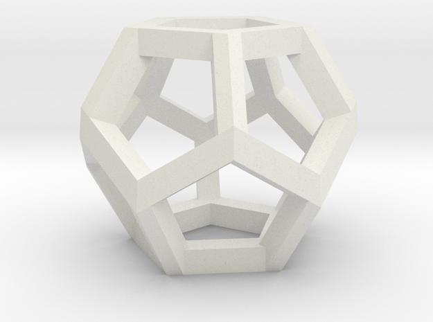 Dodecahedron Small in White Natural Versatile Plastic
