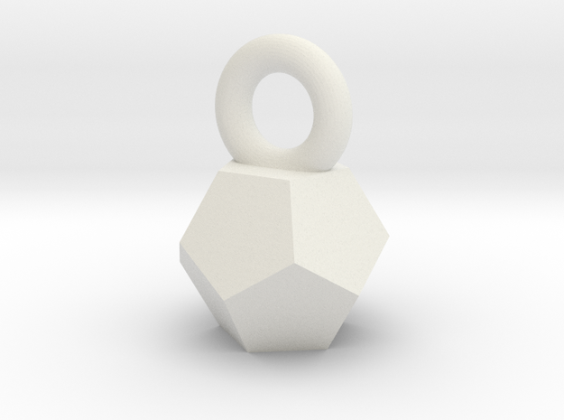 Solid Dodecahedron charm Small in White Natural Versatile Plastic