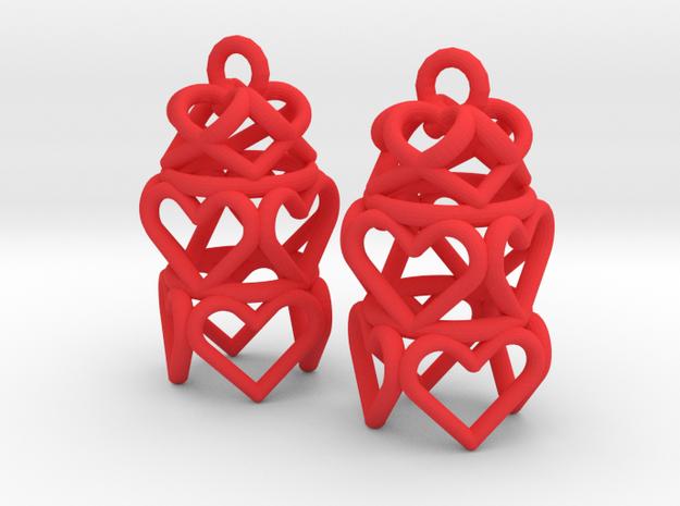 3 Tiered Heart Earrings in Red Processed Versatile Plastic