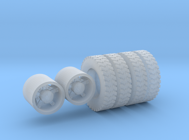 1:64 10.00-20 Gripper tires & Dayton Wheels  in Smooth Fine Detail Plastic