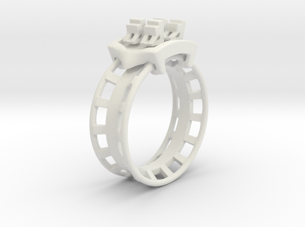 Rollercoaster Ring in White Natural Versatile Plastic