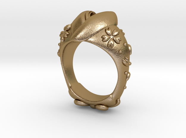 KIMONO RING in Polished Gold Steel
