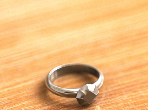 Cristall Ring5 6 size in Fine Detail Polished Silver