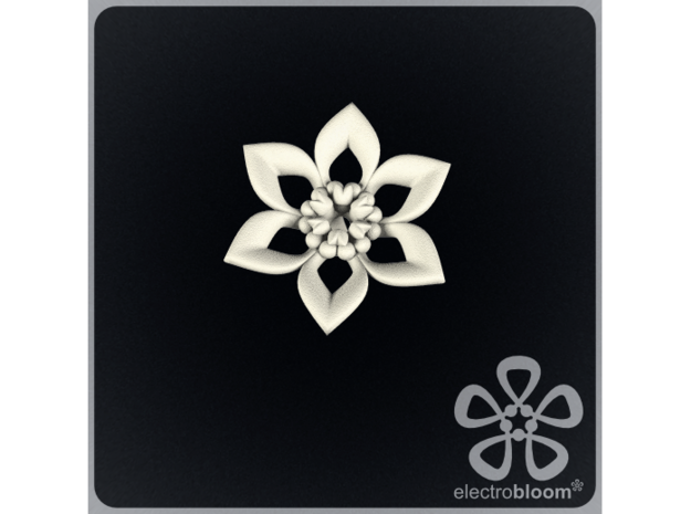 Judy flower charm. in White Strong & Flexible