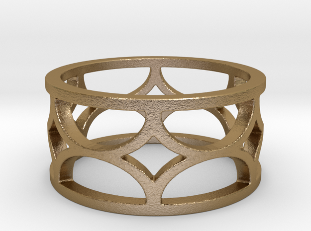 Six Diamonds Ring (Size 6.5) in Polished Gold Steel