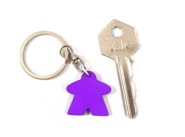 Meeple Keychain in Purple Processed Versatile Plastic