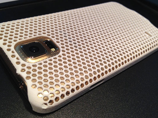 Galaxy S5 Honeycomb Patterned Case  in White Processed Versatile Plastic