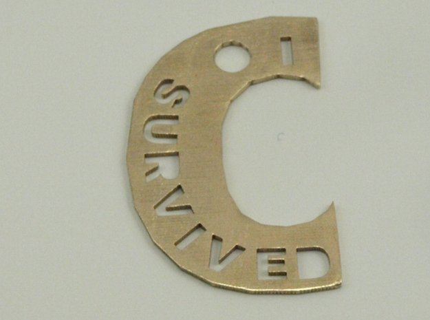 I Survived The Big C Pin/Pendant/Fob, Cut-Through in Natural Bronze