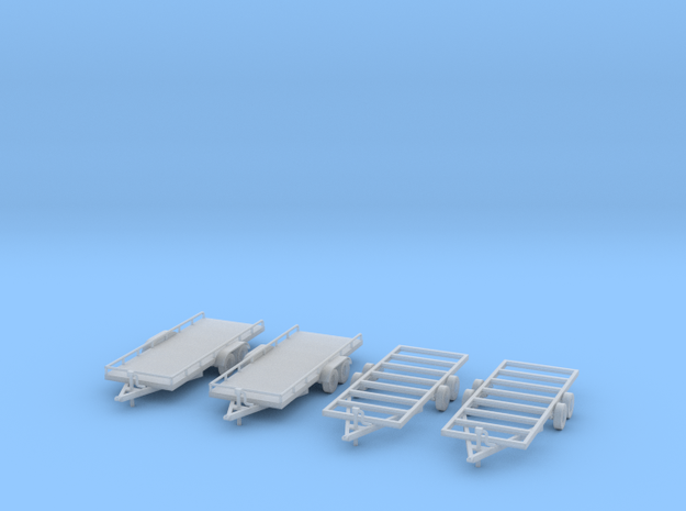 Flatbed trailers and trailer frames X4 HO Scale 1/ in Smooth Fine Detail Plastic