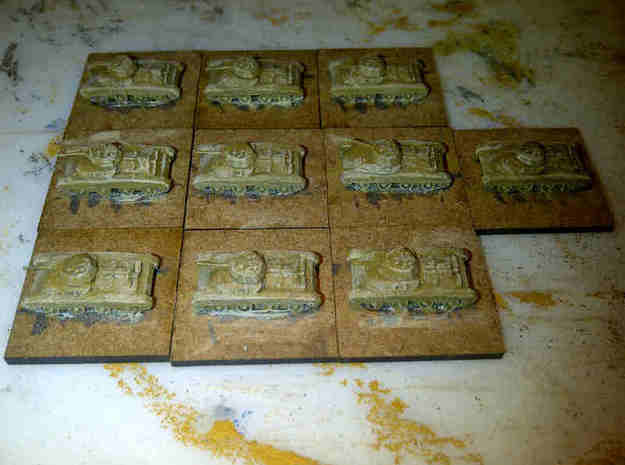 1/300 Carro Armato Celere Sahariano x 5 3d printed Models painted by Pz8, bases not finished