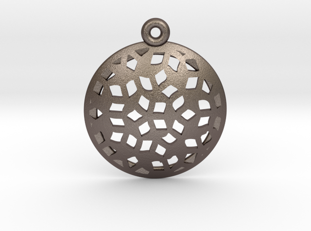 Pattern pendant in Polished Bronzed Silver Steel