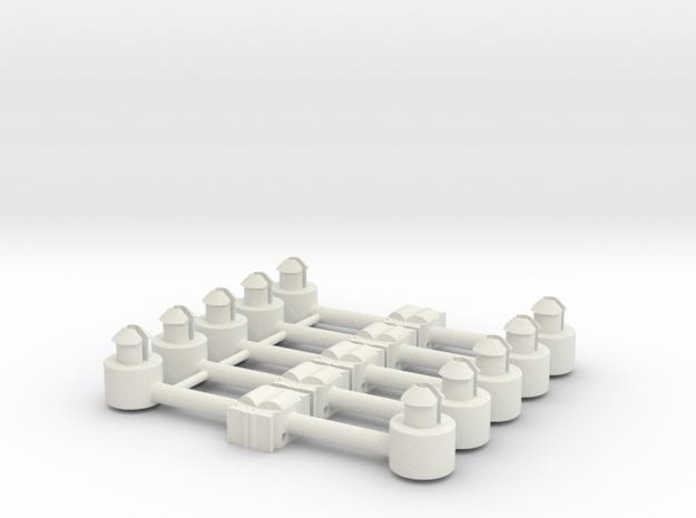 5 x Kupplungsdeichsel für Roco-Achtachser in White Natural Versatile Plastic