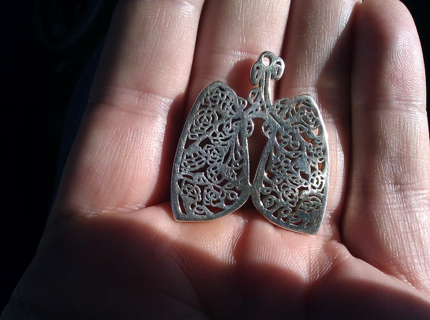 Lungs and Roses Pendant (w4) Cystic Fibrosis CF 3d printed