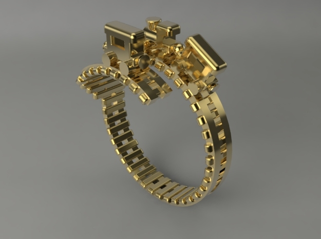 Train Nr4 Ring in Polished Brass