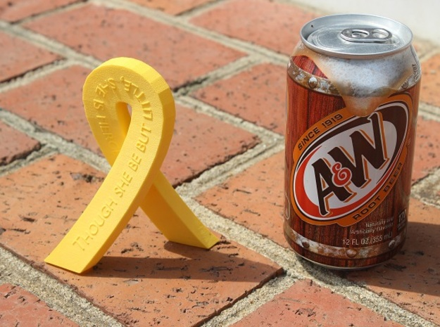 Standing Cancer Ribbon - She Is Fierce in Yellow Processed Versatile Plastic