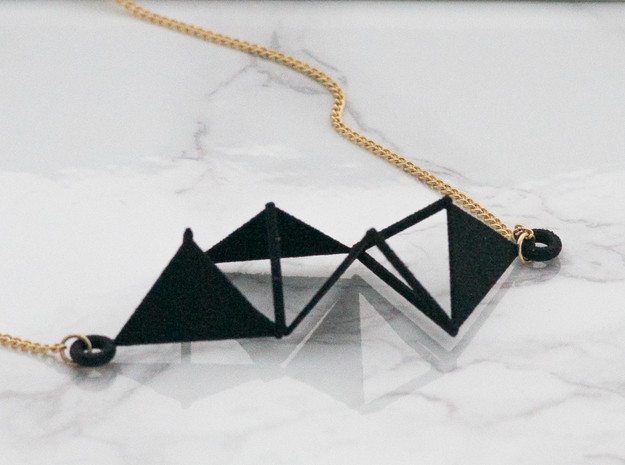 Triangular Pendant in Black Natural Versatile Plastic