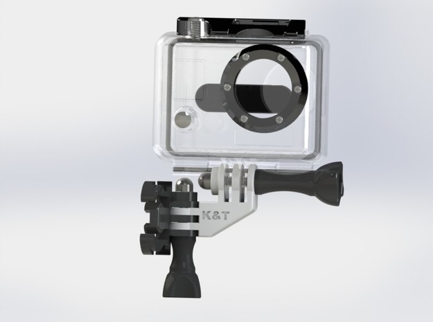 GoPro Compact 90 Degree Elbow Mount 3d printed The GoPro Camera can be mounted close to a verical surface like a helmet