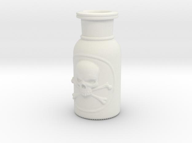 Skull and Crossbones Poison Bottle  in White Natural Versatile Plastic