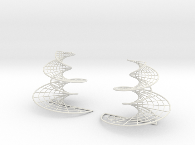 DNA earrings | 4 inches in White Natural Versatile Plastic