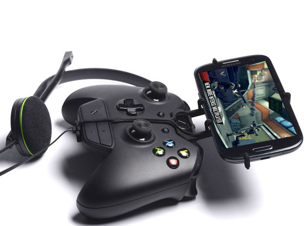 Xbox One controller & chat & Gigabyte GSmart Aku A 3d printed Side View - A Samsung Galaxy S3 and a black Xbox One controller & chat