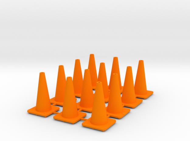 """18"""" traffic cones 1/24th (12) in Orange Processed Versatile Plastic"""