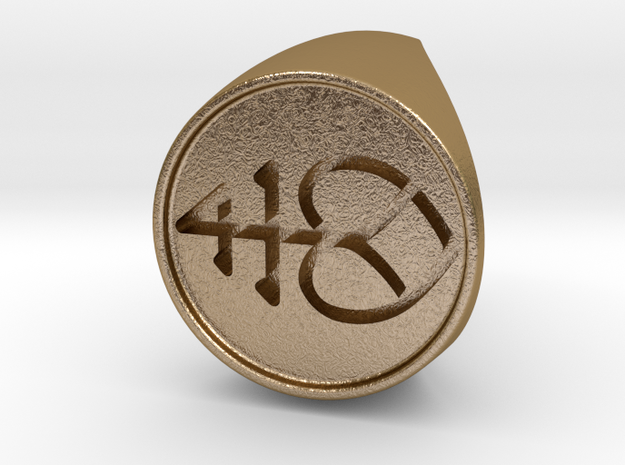 Custom Signet Ring 2 in Polished Gold Steel