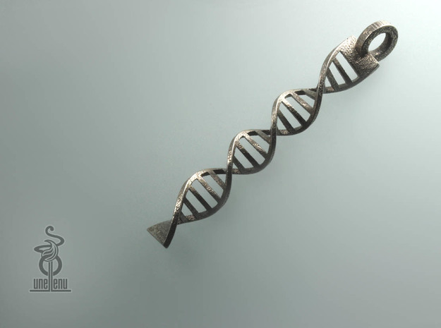 DNA  Pendant in 3D printed stainless steel in Polished Bronzed Silver Steel