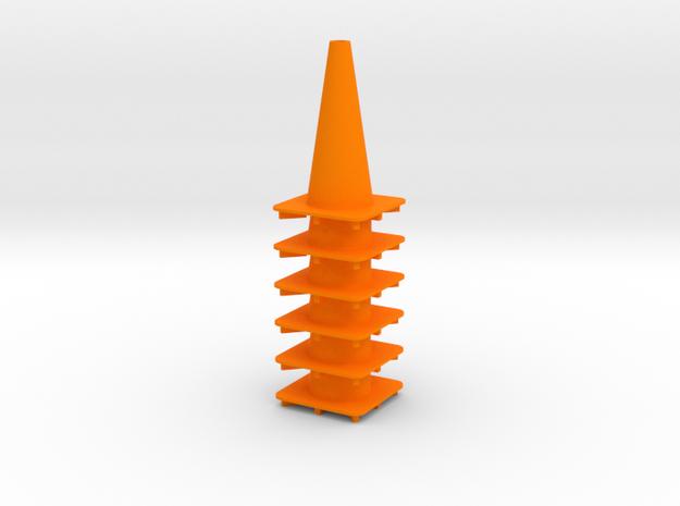 """18"""" traffic cone 1/12th (6) in Orange Processed Versatile Plastic"""