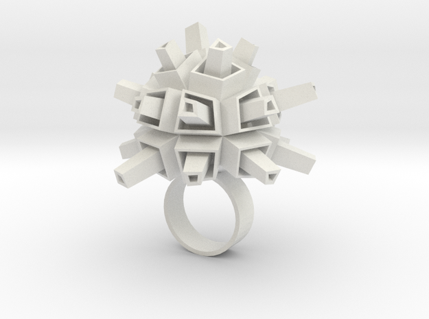 Spacey Ring in White Natural Versatile Plastic