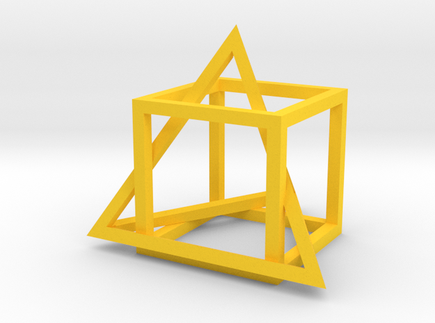Tetrahedron in captivity of cube in Yellow Processed Versatile Plastic