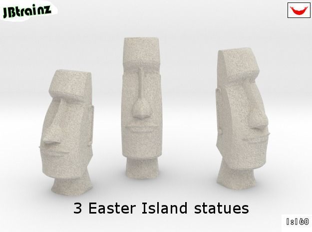 3 Easter Island statues (1:160)