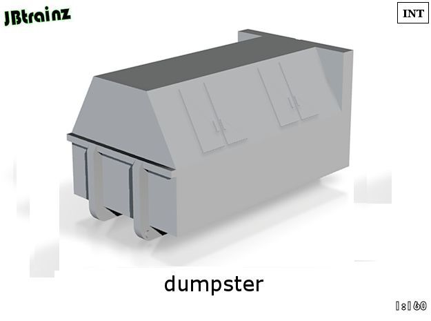 Dumpster (n-scale) in White Processed Versatile Plastic