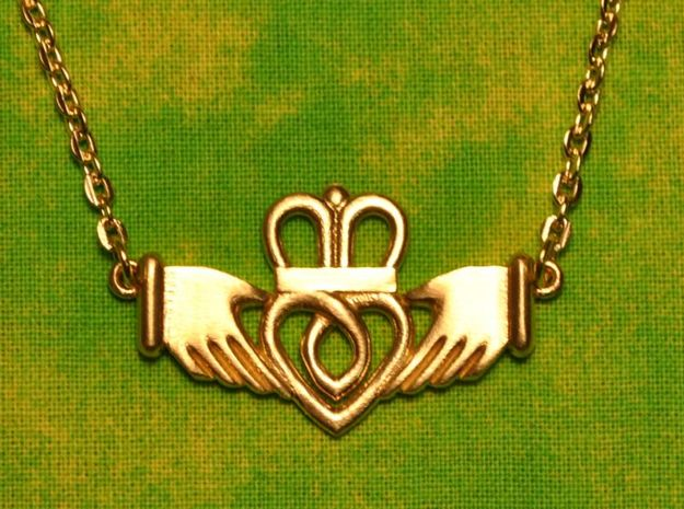 Claddagh Pendant in Raw Brass