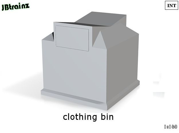 Clothing Bin (n-scale) in White Strong & Flexible Polished