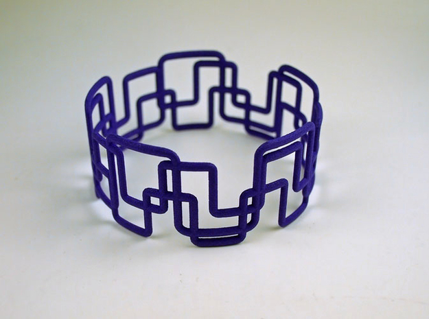 Modern Graphics Bracelet 3d printed Matt gold steel - isn't that gorgious?