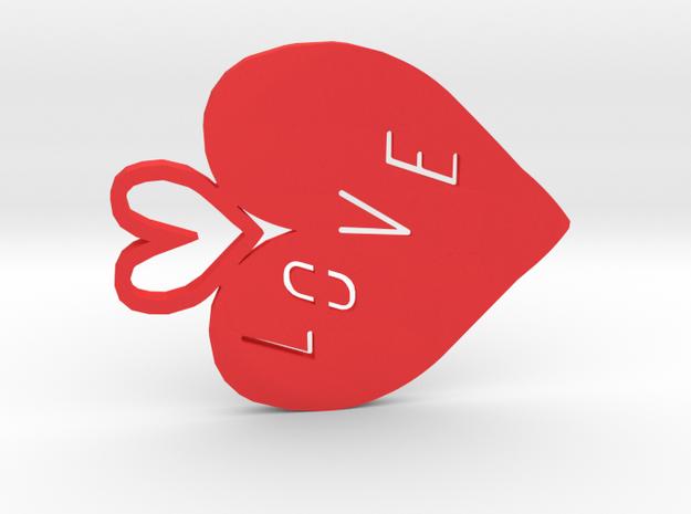 Love heart in Red Processed Versatile Plastic