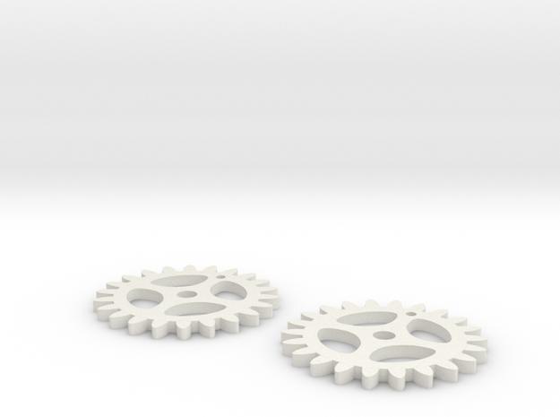 Gear key chain in White Strong & Flexible