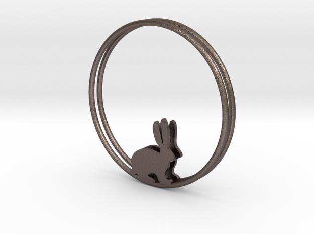 Bunny Hoop Earrings 40mm in Polished Bronzed Silver Steel