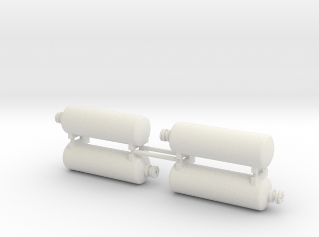 DODX Air Tank - Set of 4 (1:29 scale) in White Natural Versatile Plastic