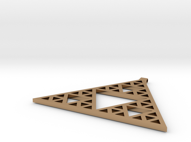 Sierpinski's Triangle Pendant in Polished Brass