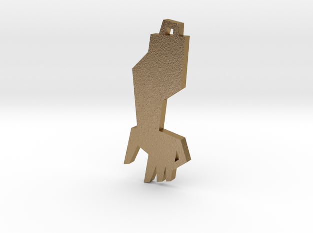 Golden Arm Pendant in Polished Gold Steel