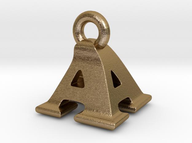 3D Monogram Pendant - AAF1 in Polished Gold Steel