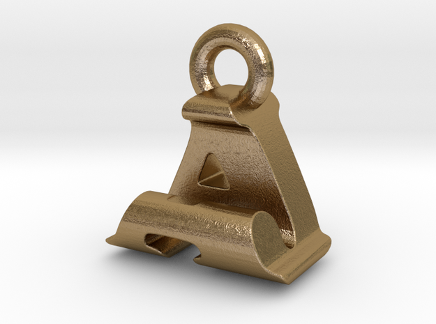 3D Monogram Pendant - AJF1 in Polished Gold Steel