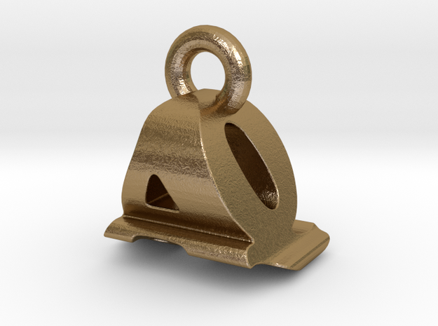 3D Monogram Pendant - AQF1 in Polished Gold Steel